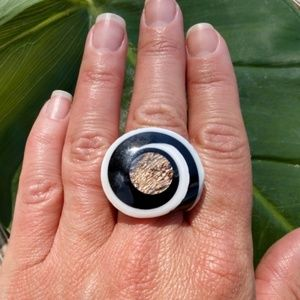 Spiral Shell Shiva Eye black white Ring